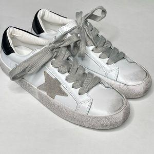 New Fashion Sneaker Distressed Star Vegan Leather